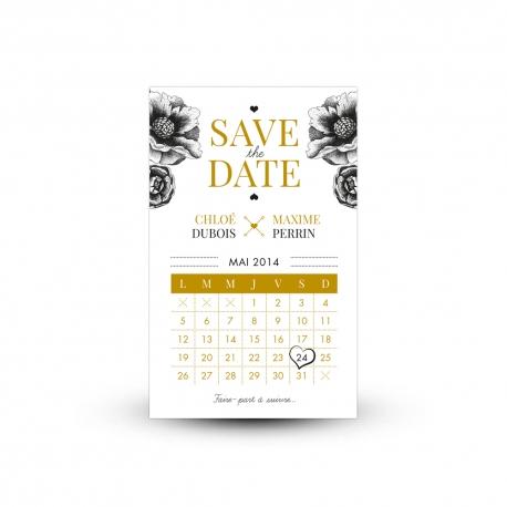 Save the date Anémones thème Gatsby chic et rétro