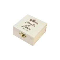 Boîte à alliances en bois personnalisée anémone champêtre
