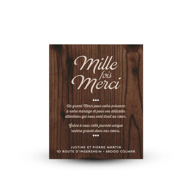 carte de remerciement mariage avec photo et texte imprime bois - Texte Carte De Remerciement Mariage