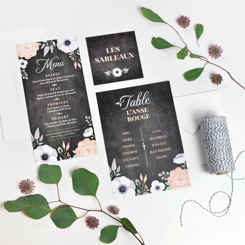 papeterie de mariage ardoise fleurie menu champ tre et r tro. Black Bedroom Furniture Sets. Home Design Ideas
