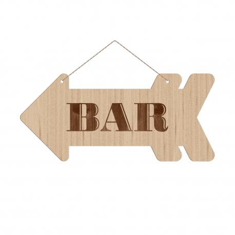 panneau directionnel en bois finement grav bar mariage. Black Bedroom Furniture Sets. Home Design Ideas