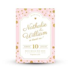 Faire-part mariage personnalisé Confettis d'or rose et gold