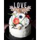 Cake topper décoration de gâteau LOVE avec fleurs gravées Hinalys