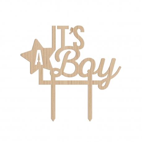 Cake topper en bois pour baby shower it's a boy
