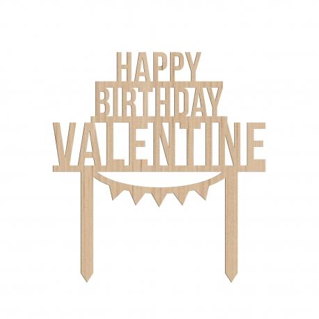Cake topper personnalisé happy birthday fanions