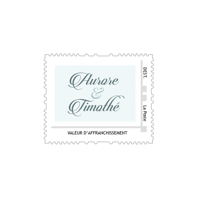timbre poste personnalis prnoms mariage hiver - Timbres Personnaliss Mariage