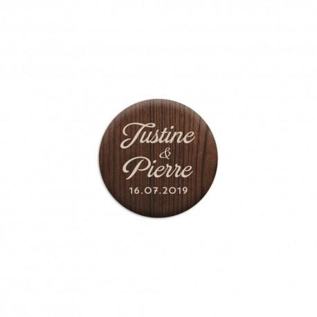 Badge personnalisé imprimé bois pour mariage rustique
