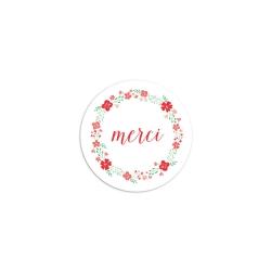 Sticker rond merci fleuri coquelicot mariage champêtre