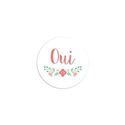 Sticker rond oui fleuri mariage champêtre