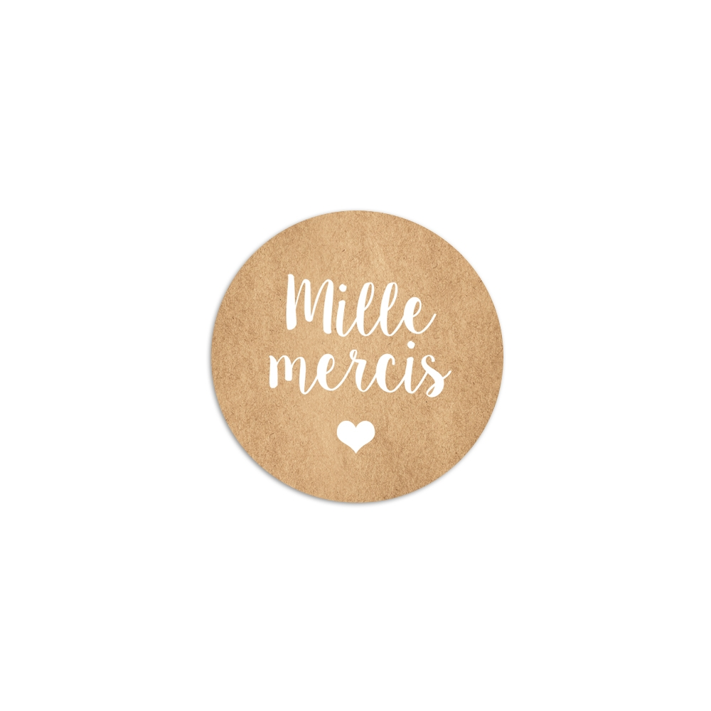 sticker rond mille mercis fond kraft mariage champtre bohme - Mille Mercis Mariage