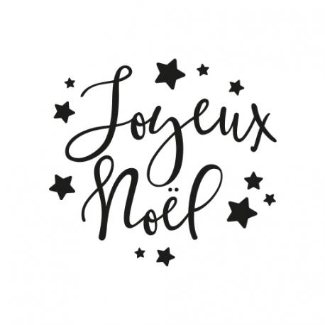 Tampon joyeux no l toiles personnalisez vos paquets cadeaux - Joyeux noel noir et blanc ...