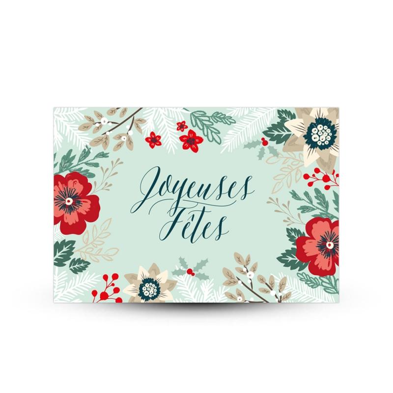 Carte de voeux l gante et chic joyeux f tes fleurs sauvages - Image de carte de fete ...