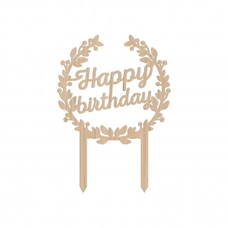 Cake topper happy birthday anniversaire couronne de fleurs