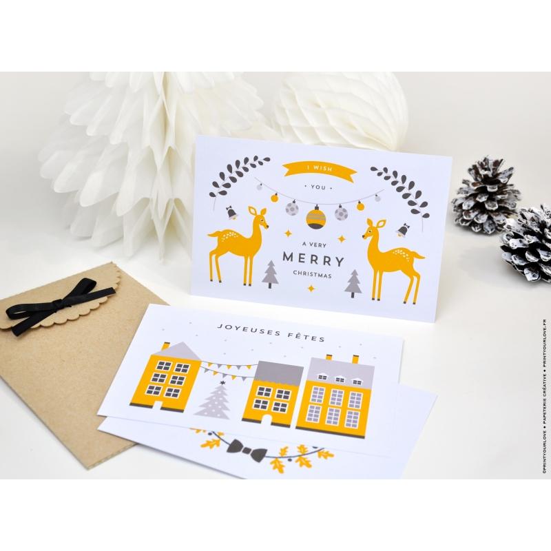 En commun Carte de voeux scandinave, Merry Christmas biches - Noël #SA_91