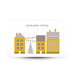 Carte de voeux joyeuses fêtes maisonnettes scandinaves