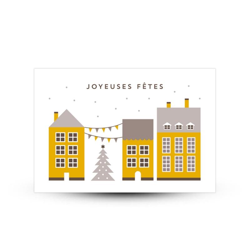 Carte de voeux joyeuses f tes maisonnettes scandinaves - Carte de voeux maison ...