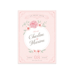 Faire part mariage personnalisé Shabby chic en rose et vert