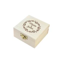 Boite à alliances en bois personnalisée avec prénoms, modèle couronne des mariés