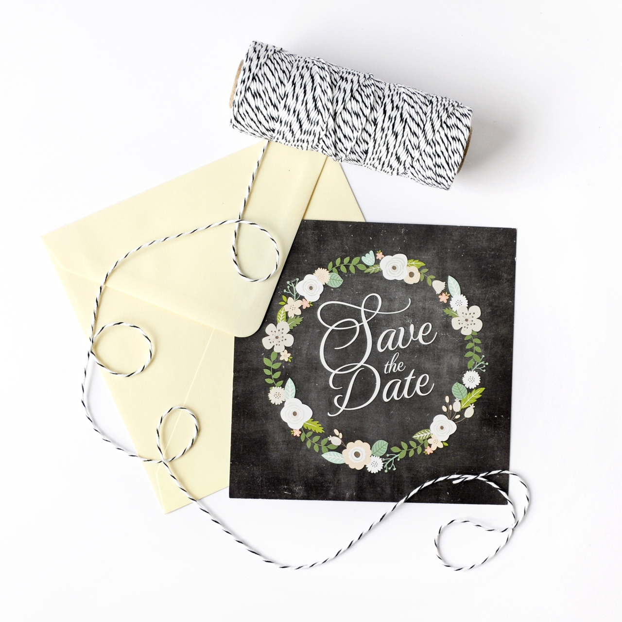 Save the date sur-mesure Ardoise Fleurie