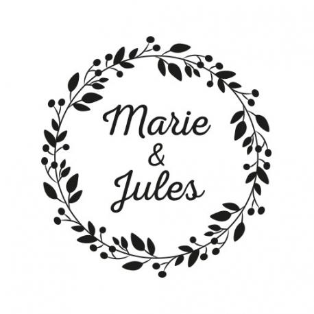 Tampon personnalisé mariage champêtre couronne de fleurs