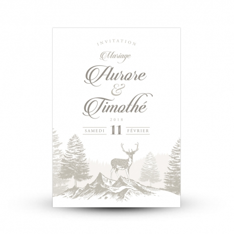 Invitation mariage hivernal nature cerf en montagne