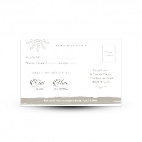 Carte réponse RSVP avec emplacement timbre mariage hivernal