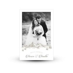 Carte de remerciement personnalisée mariage d'hiver