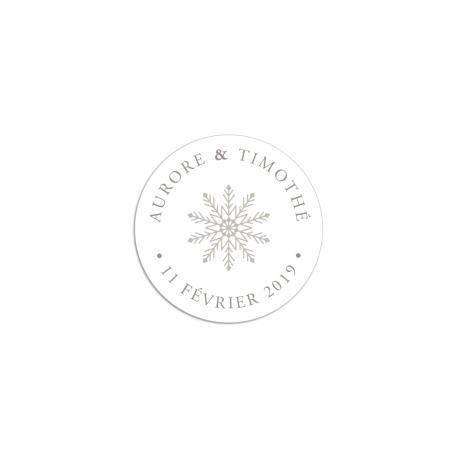 Stickers autocollants personnalisés mariage hivernal beige flocon