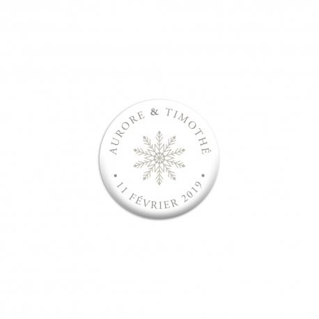 Badge mariage personnalisé hiver glace cerf