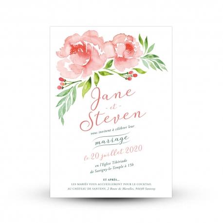Faire Part Fleuri Pivoine Papeterie De Mariage Peinte à Laquarelle