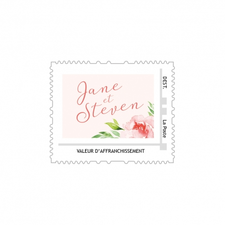 Fichier timbre poste mariage personnalisé, collection pivoine aquarelle