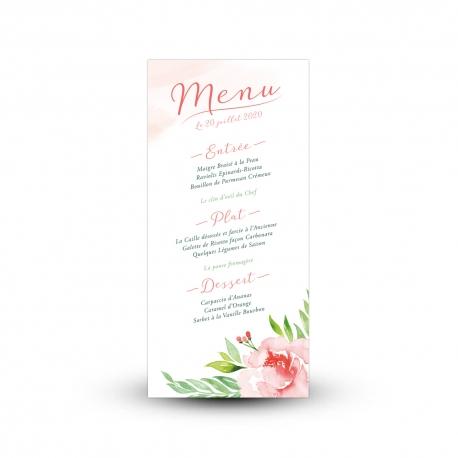 Carte menu mariage champêtre et fleuri, pivoine peinte à l'aquarelle, couleurs pastel
