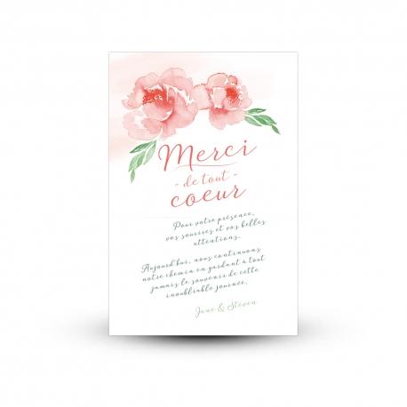 Carte de remerciement mariage bucolique, pivoines peintes à l'aquarelle