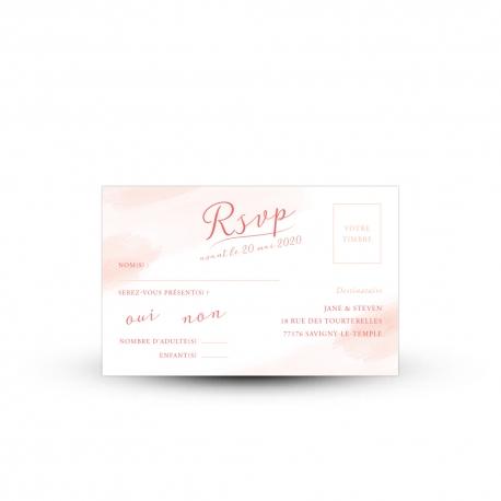 Carte réponse RSVP mariage bucolique et fleuri, modèle pivoine peint à l'aquarelle