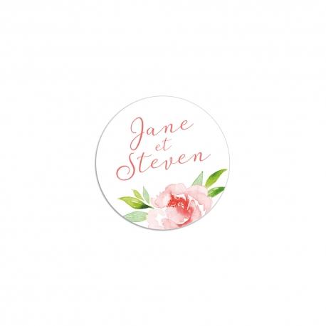 Stickers auto-collants mariage fleuri, modèle pivoine couleurs pastel