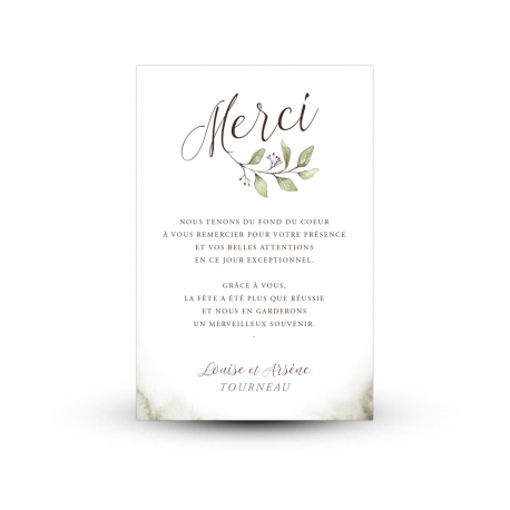 Carte de remerciement mariage végétal et naturel, collection Eucalyptus aquarelle