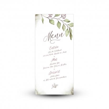Carte menu mariage végétal, thème eucalyptus à l'aquarelle