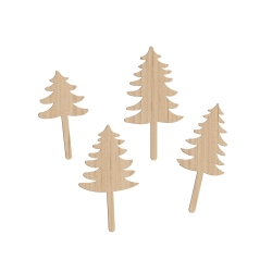 Lot de 4 cake toppers sapin