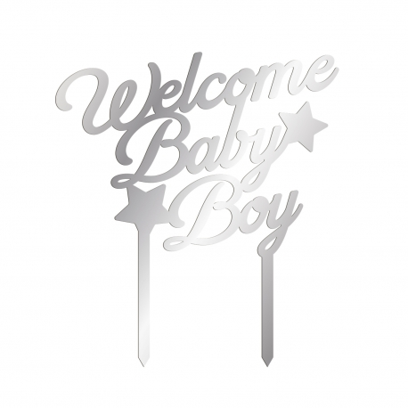Cake topper argent baby shower welcome baby boy