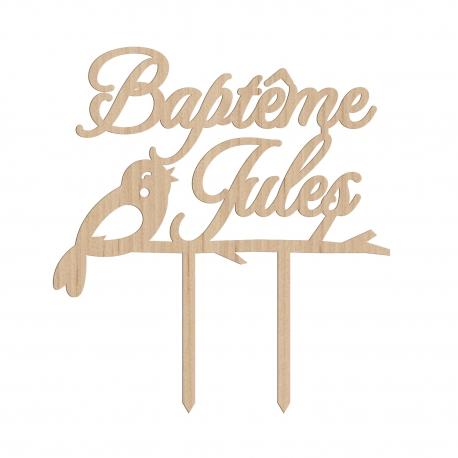 Cake topper baptême personnalisé calligraphie oiseau nature
