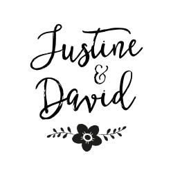 Tampon mariage personnalisé avec prénoms calligraphie champêtre