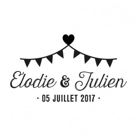 Tampon mariage guinguette personnalisé coeur et fanions