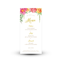 Carte menu mariage personnalisée, fleurs à l'aquarelle thème gipsy