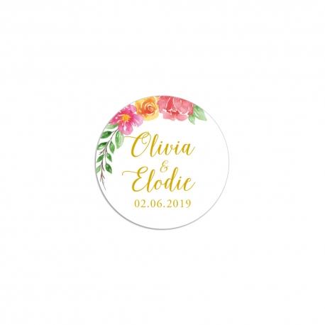 Sticker autocollant personnalisé mariage fleuri bohème
