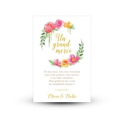 Carte remerciement mariage thème coloré et fleuri avec photo