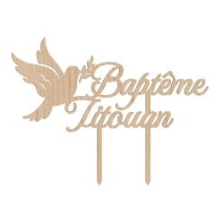 Cake topper personnalisé baptême colombe avec prénom