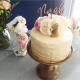 Figurine en bois gâteau d'anniversaire enfant, prénom calligraphie