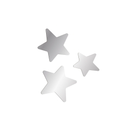 Étoiles décoratives pour enseigne prénom en plexiglas effet miroir argent
