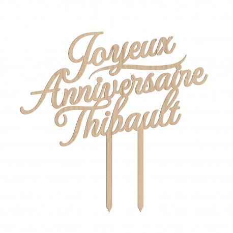 Cake topper personnalisé joyeux anniversaire calligraphie