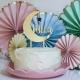 Cake topper personnalisé anniversaire plexiglas miroir or lune